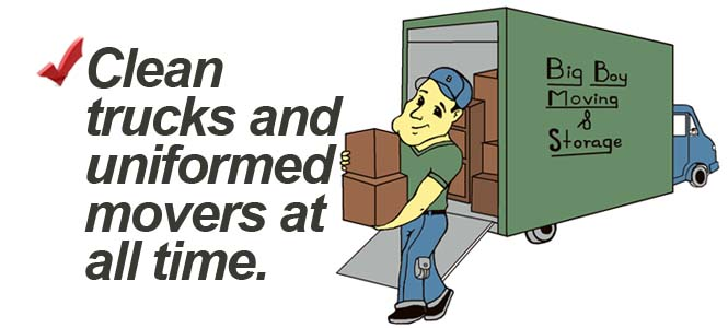 Clean trucks and uniformed movers